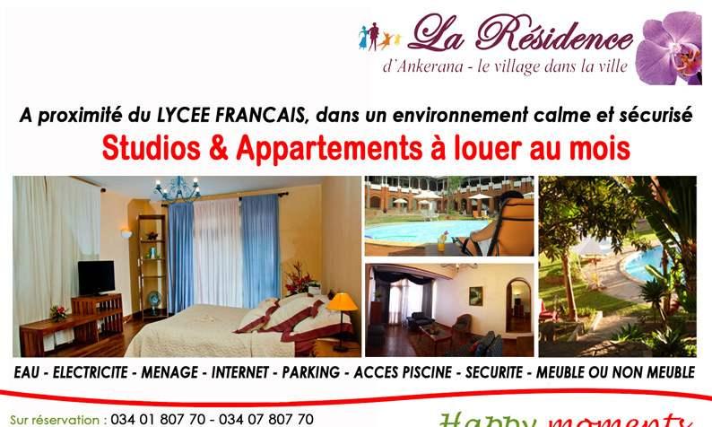 modele la residence2 02 Studio & Appartements à louer au mois, à proximité du Lycée Français